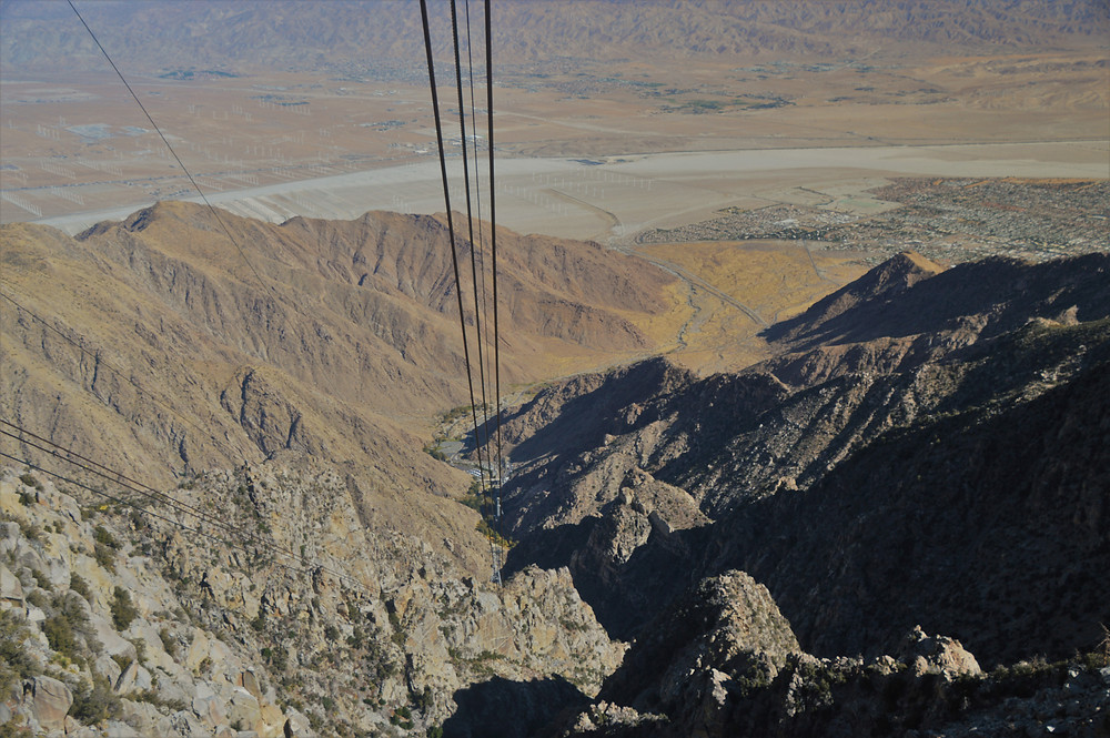 Looking down from the San Jacinto tram car into the Chino Canyon and Coachella