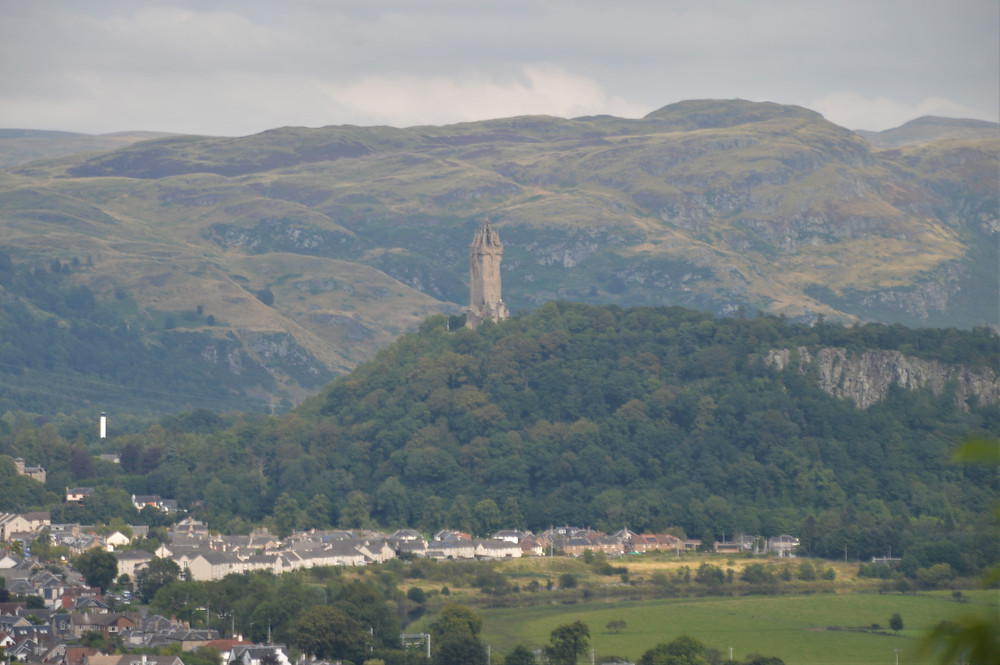 A view of the Wallace Monument standing on Abbey Craig from Stirling Castle.