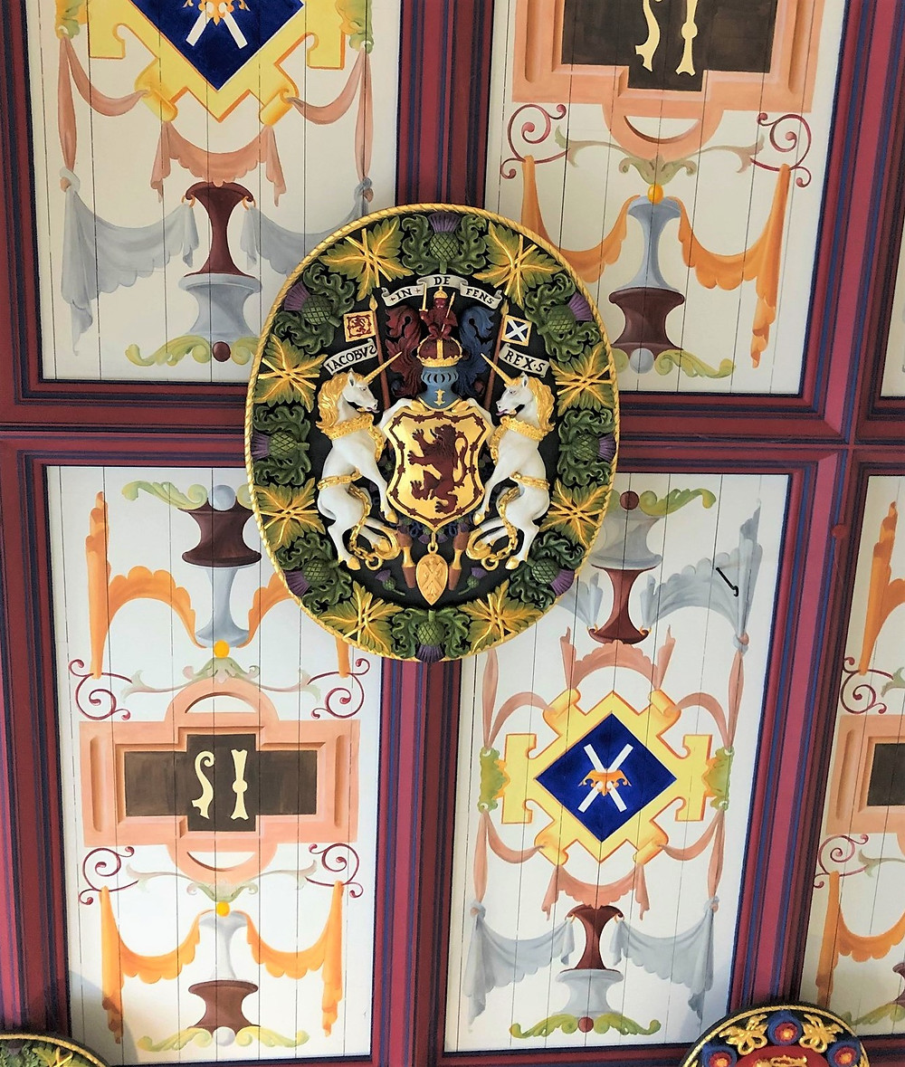 The ceiling of the King's Bedchamber in Stirling contains an elaborate wooden ceiling that contained the King's Royal Cipher the letter 'I' from Iacobus the Latin form of James and the Roman numeral V
