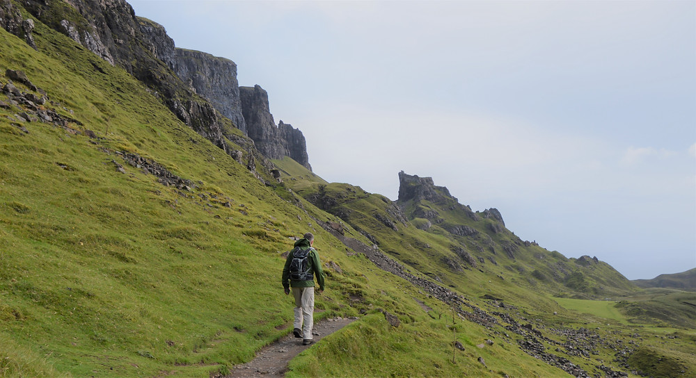 The path followed the base of the Meall na Suiramach's cliffs and was relatively flat.  Isle of Skye.