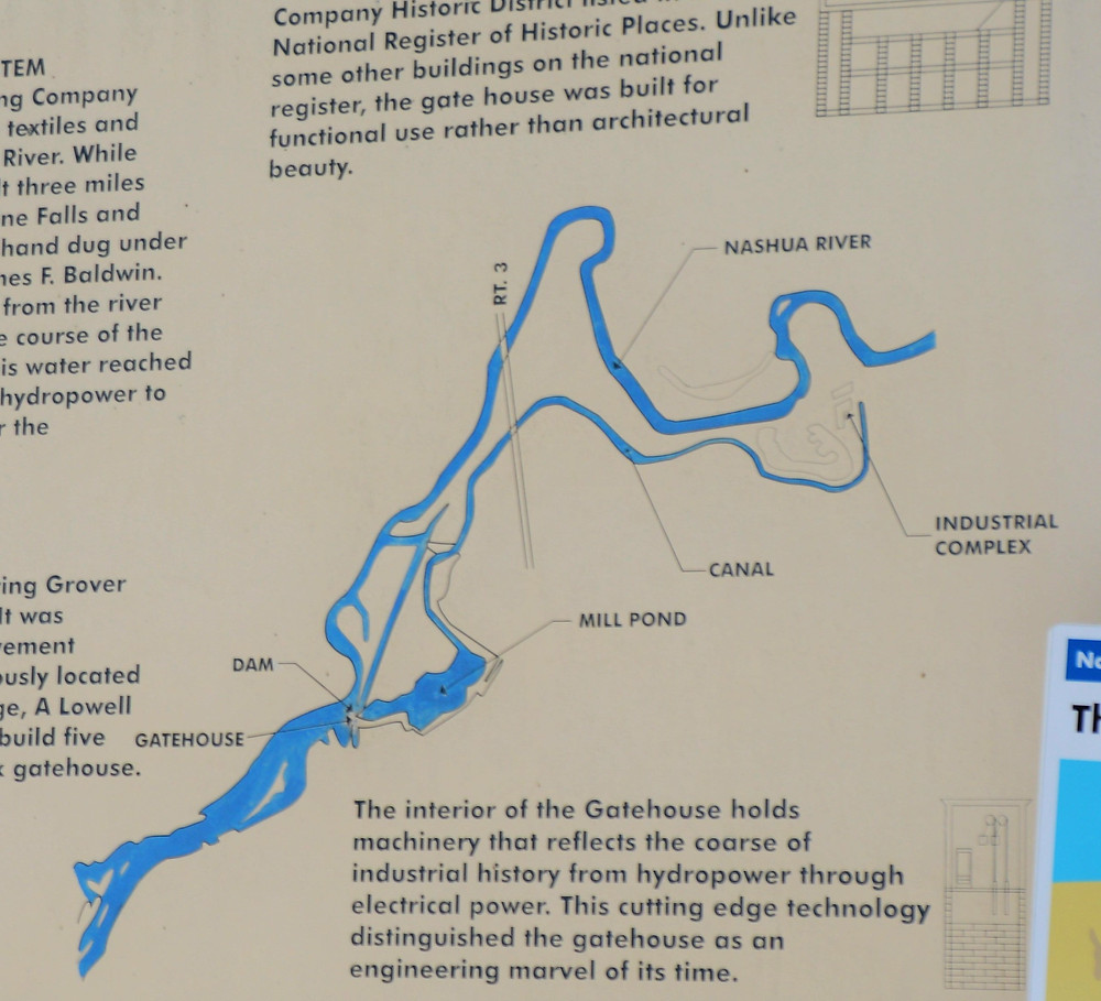 Map of Nashua River and canals in the Mine Fall Park on Nashua NH