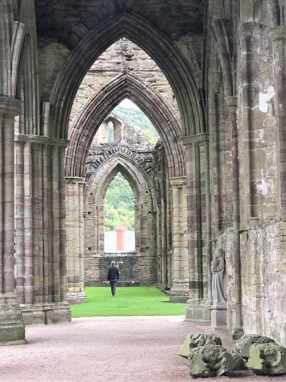 Ruins of the stone arches in north aisles adjacent to the naïve in Tintern Abbey in Southern Wales