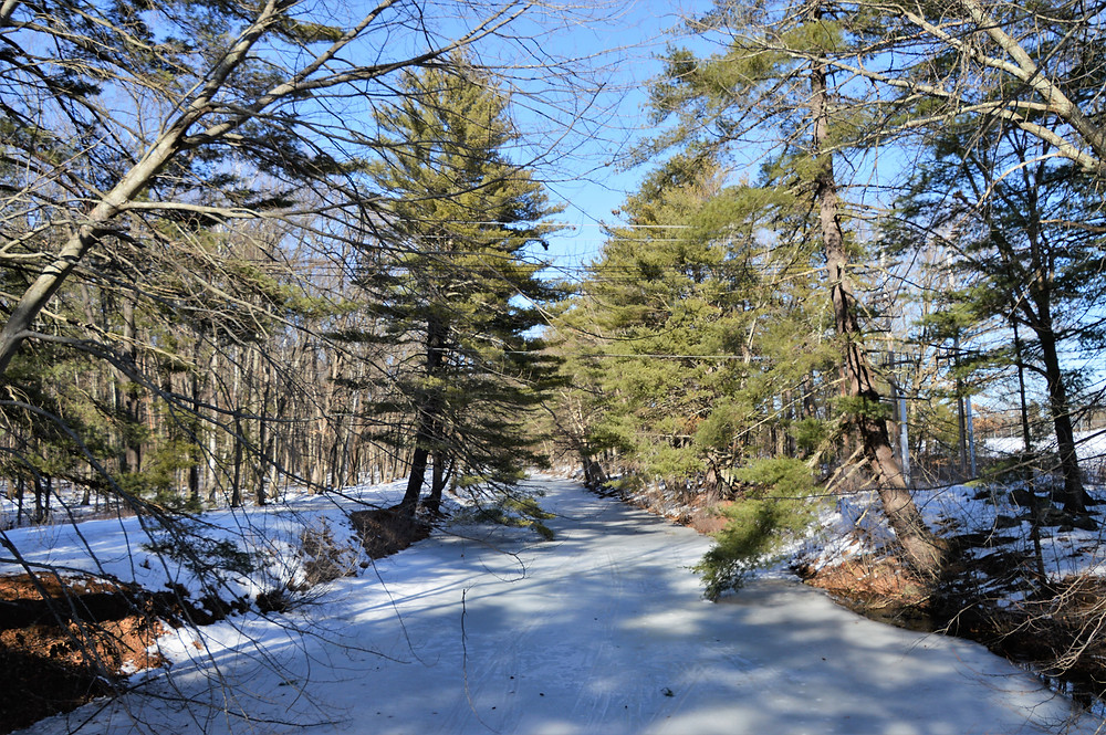 Ice covered canals in Mine Falls Park in Nashua NH