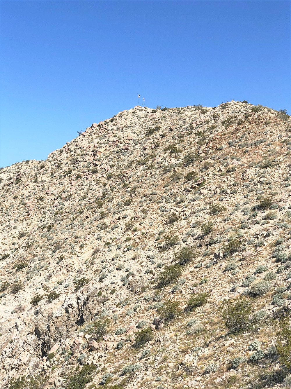 Hiking the Chocolate Drop Trail to Flag Hill in foothills of Little San Bernardino Mountains in Desert Hot Springs