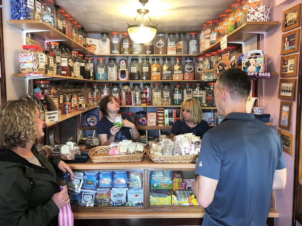 Inside Glickman's Sweet Shop in Glasgow buying Soor Plume candy