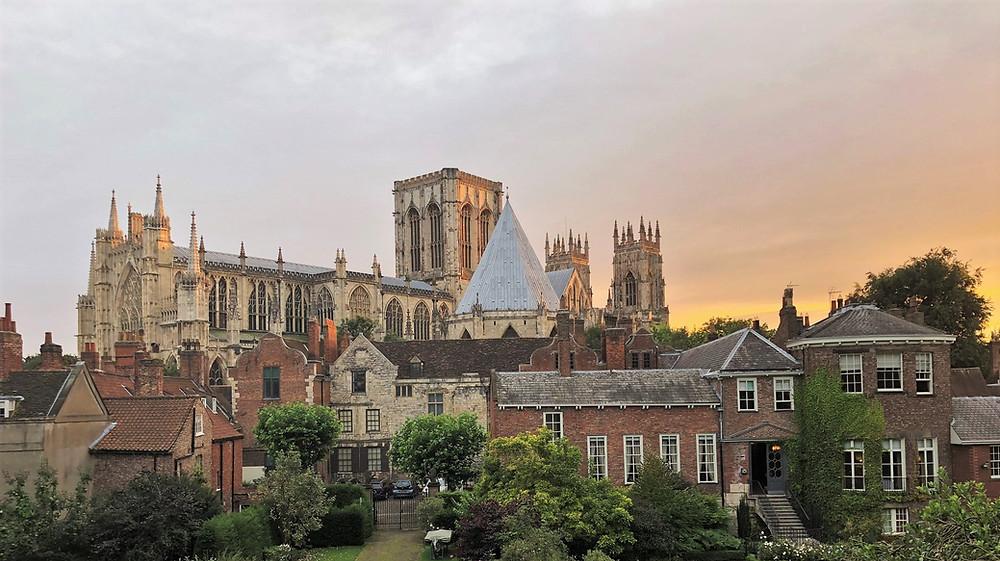Sunset lighting up York Minster in England
