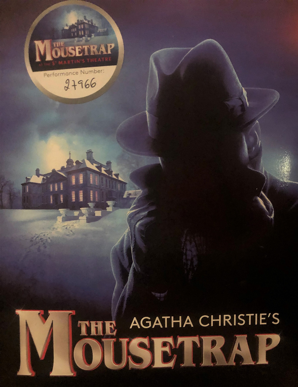 Souvenir playbook for Agatha Christie's play The Mousetrap.  Performance number 27,966