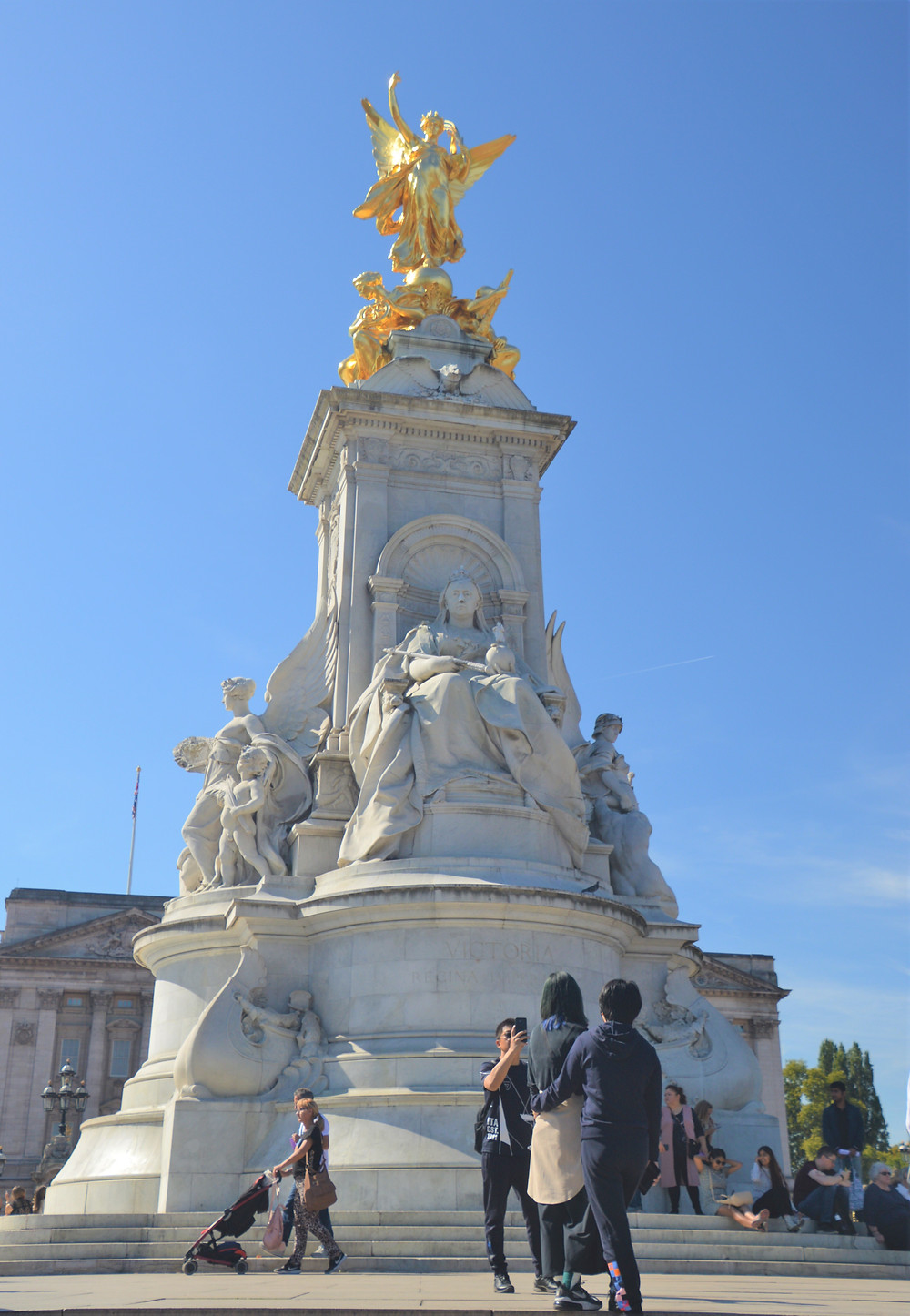 Gilded bronze Winged Victory statue on top of the Victoria Memorial in London completed 1924