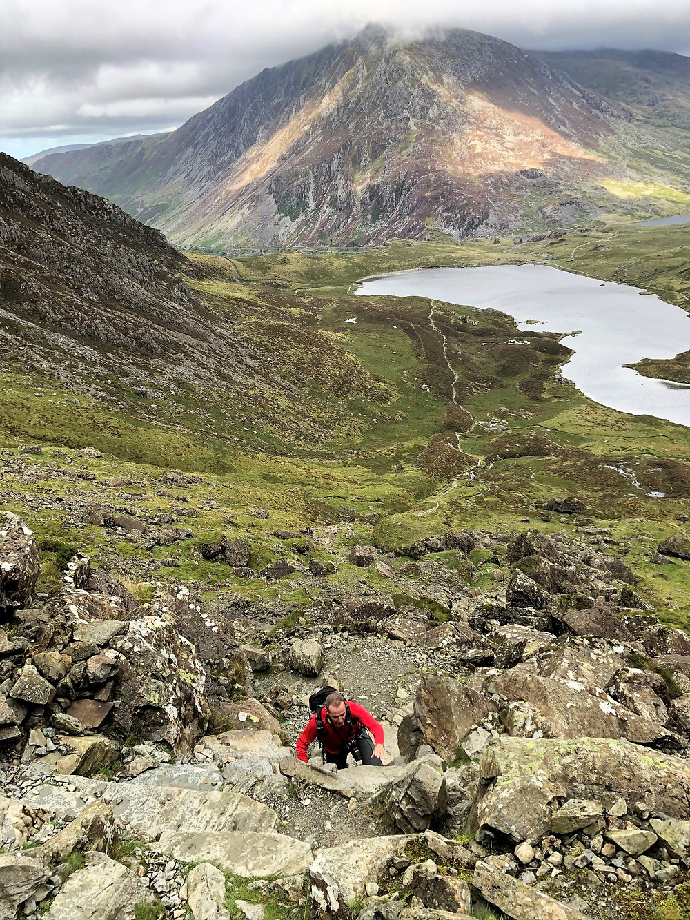 Scrambling on the path leading to Devil's Kitchen in Snowdonia