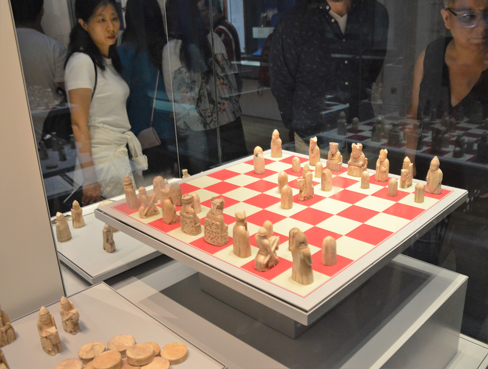 On display in The British Museum the Lewis Chessmen uncovered on the Isle of Lewis in the Outer Hebrides
