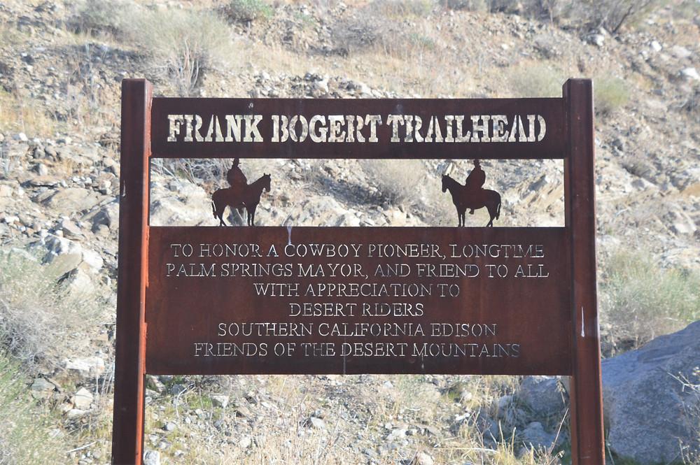 Frank Bogert Trailhead sign in Palm Springs