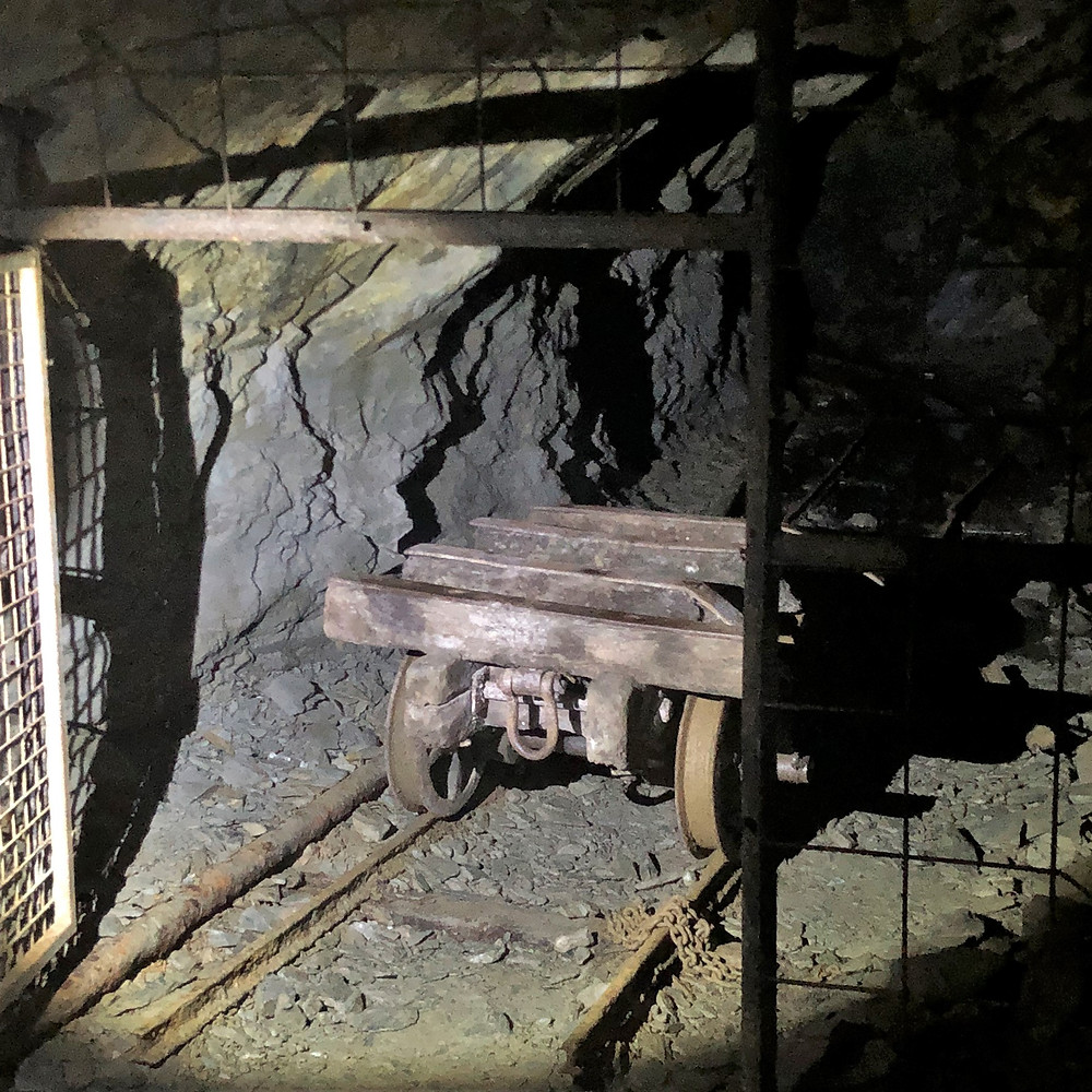 Old abandoned machinery left behind in the slate mines in Llechwedd Slate Quarry