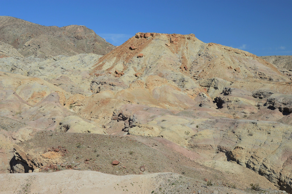 Colorful hillsides on the Calcite Mine Loop at Anza-Borrego State Park