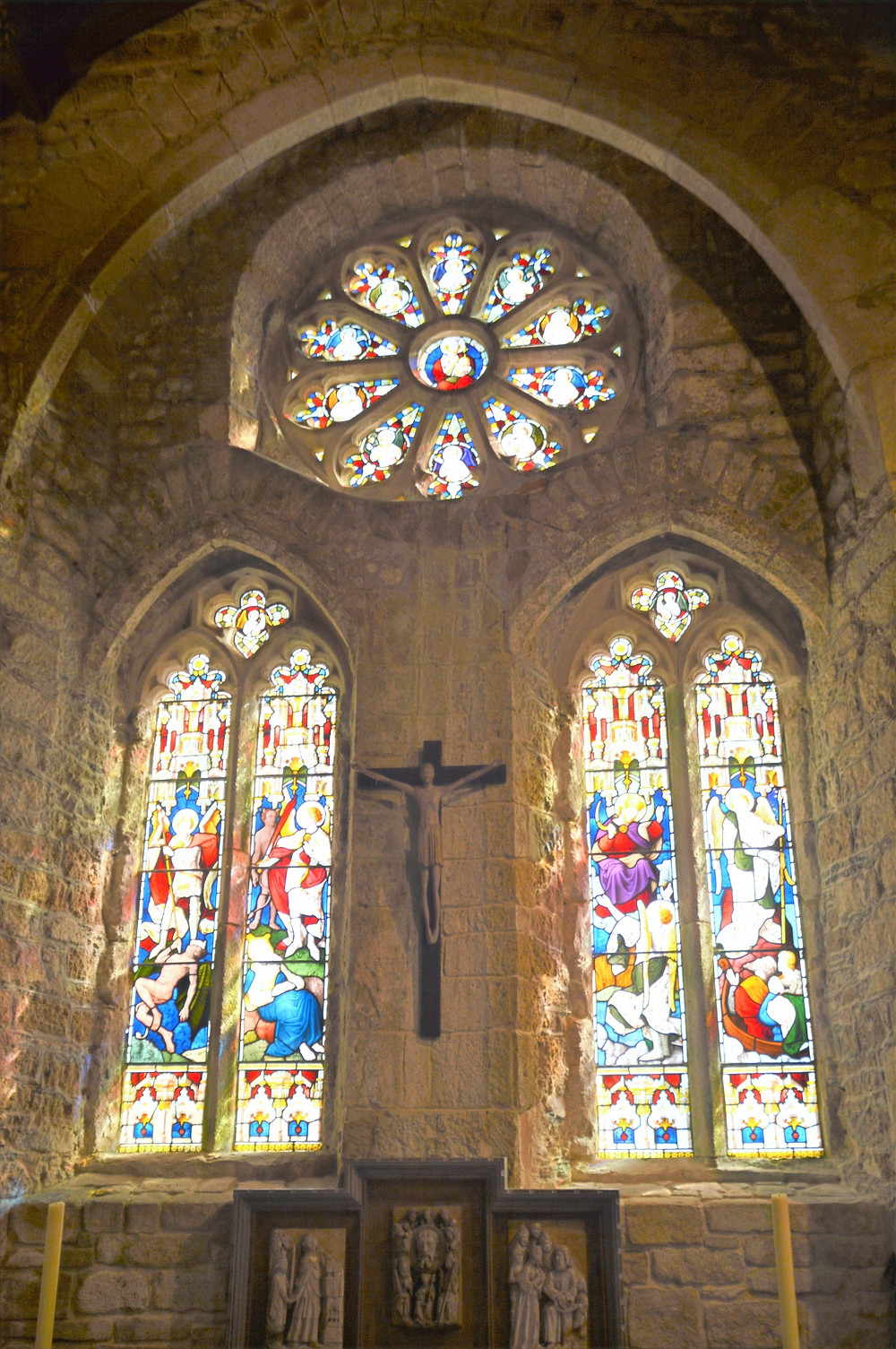 On the main alter of St Michael church in St Michael's Mount castle, are 15th century alabasters panels depicting the Mass of St Gregory, John the Baptist, and Pontius Pilate