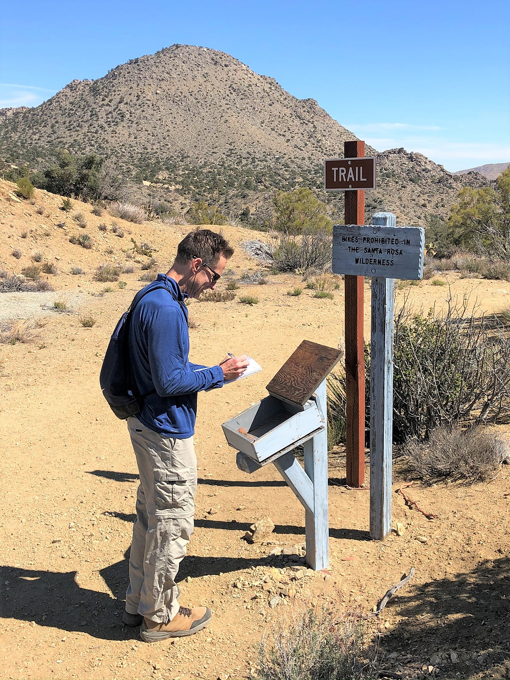 Signing the trail log on the Cactus Spring trail in the Santa Rosa Mountain Wilderness