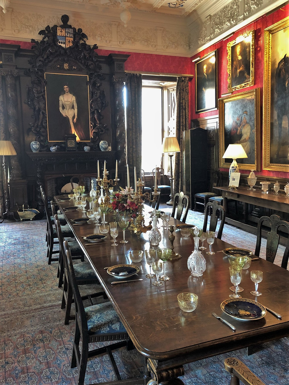 Dining room table in the family dining room in Fyvie Castle in Aberdeenshire, Scotland