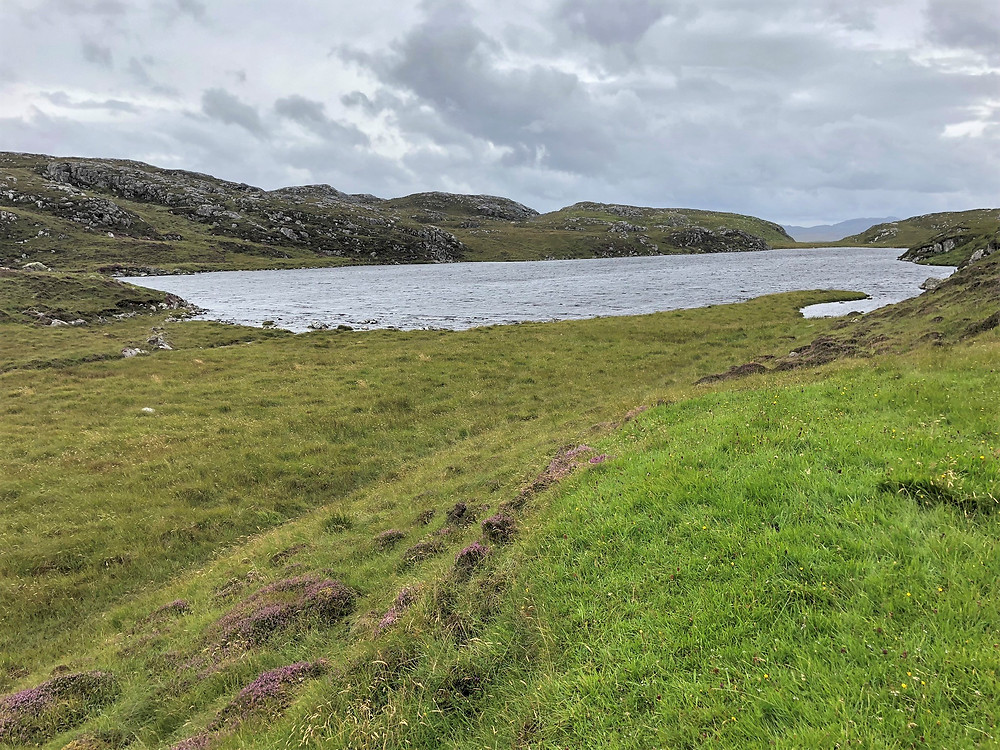 Loch Sgail on Great Bernera Loop hike on the NW coast of Isle of Lewis, Outer Hebrides