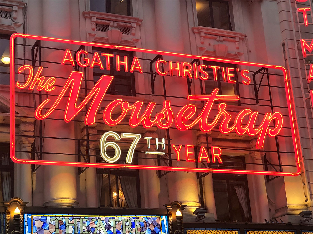 Theatre marquee in London for 'The Mousetrap' murder mystery play by Agatha Christie