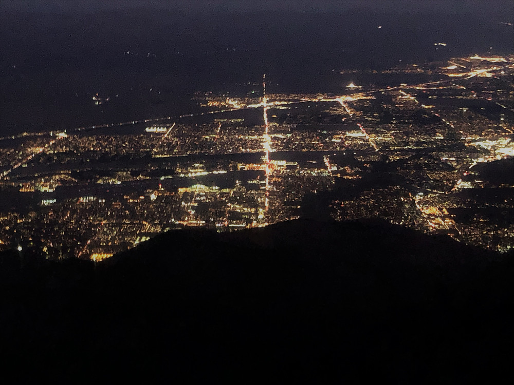 Night time view of Palm Springs from the San Jacinto tram car