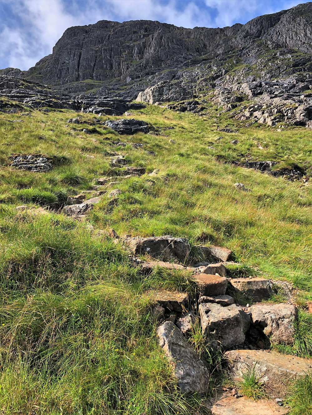 Steep headwall of Coire na Tuliach on the hike of Buachaille Etive Mòr in the Scottish Highlands
