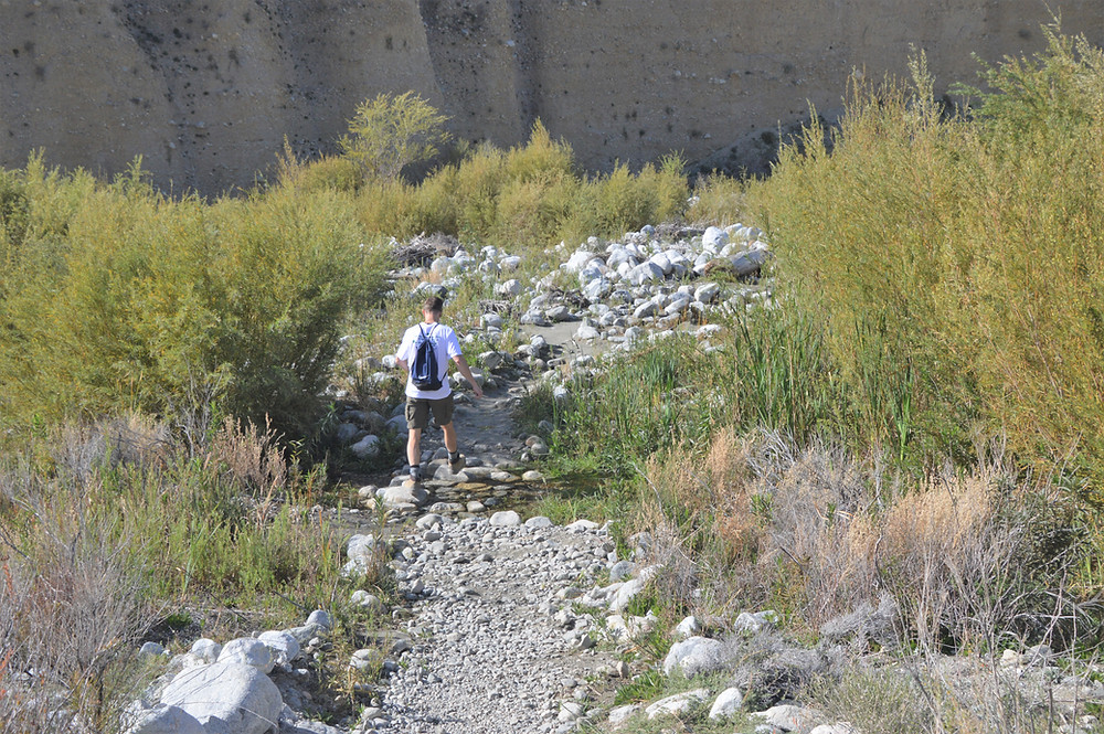 Crossing creeks in Whitewater Preserve Red Dome Trail