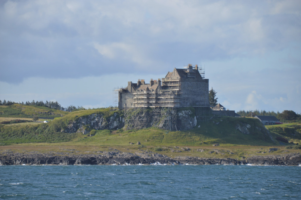 Duart Castle on the ancestral home of one of Scotland's oldest clans, the MacLeans taken from the CalMac ferry