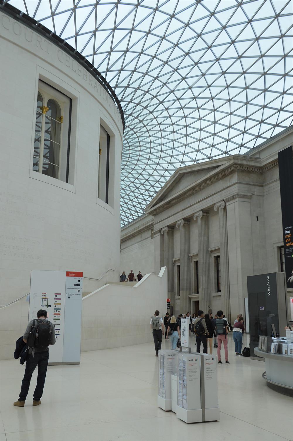 Glass roof over the Queen Elizabeth II Great Court in The British Museum