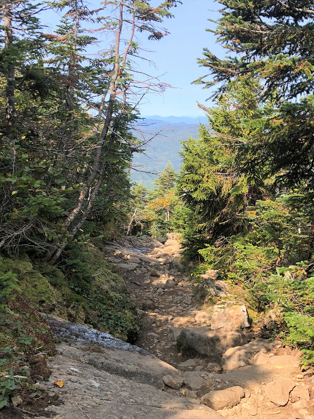 Eroded and rock covered Edmands Path to Mt Eisenhower