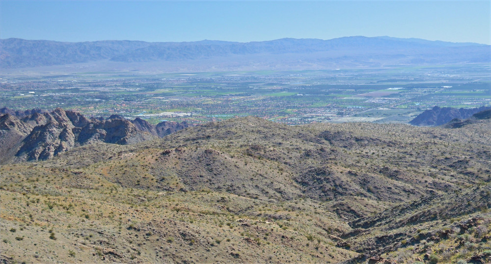 View of agricultural fields of the Imperial Valley from Boo Hoof Trail in Santa Rosa Mountains