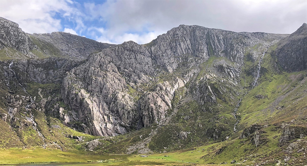 The Idwal Slabs viewed from the trail leading to Devil's Kitchen in Snowdonia