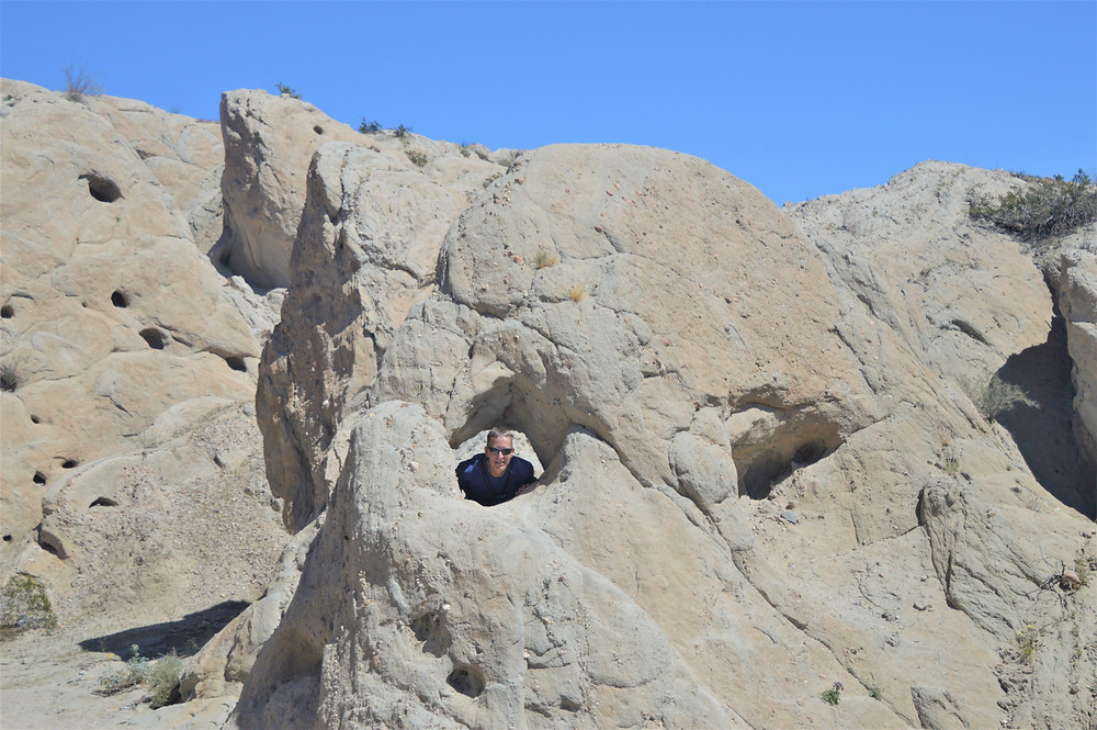 Eroded opening in sedimentary rocks along Indio Hills Badland Loop Trail