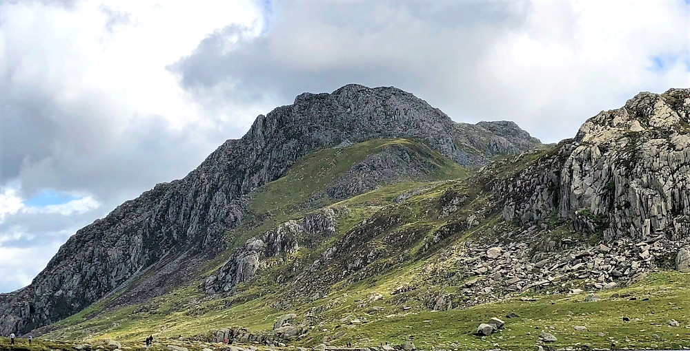 Tryfan, the 15th highest mountain in Wales viewed from the trail leading to Devil's Kitchen in Snowdonia