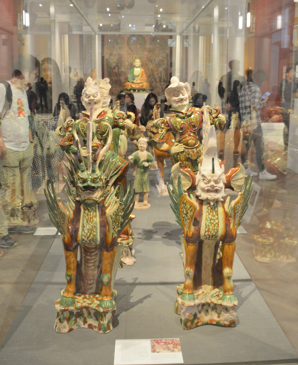 On display in The British Museum figurines below were buried in the tomb of the Tang general Liu Tingxun, who died at the age of 72 in 728 AD