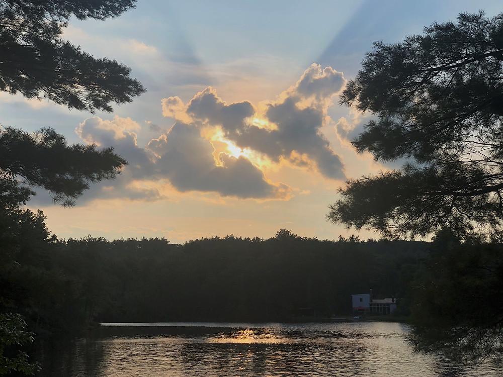 Sunset over Snake Pond in Gardner, MA
