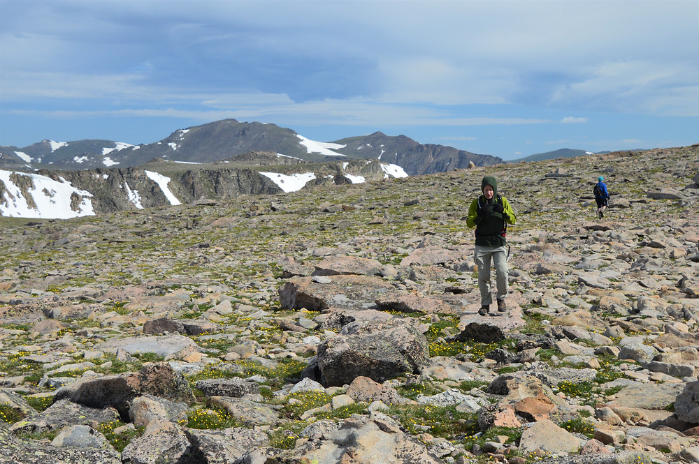 At the 12,234 foot summit of Flattop Mountain in Rocky Mountain National Park