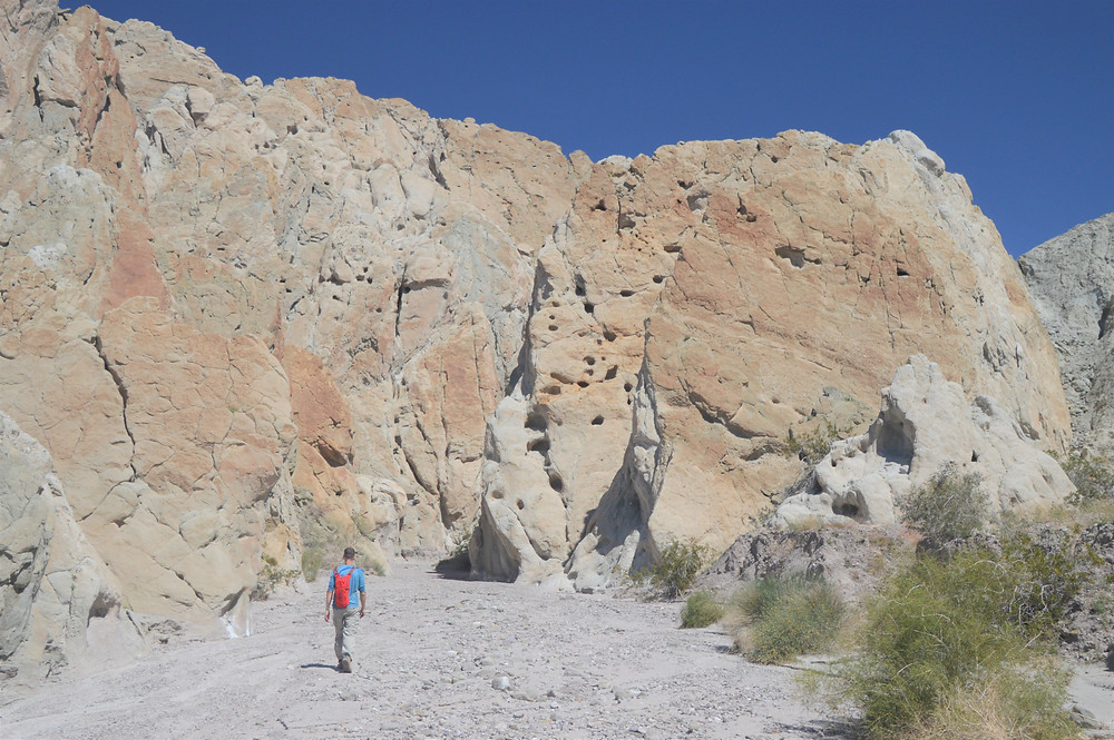 Wind and rain erosion cavities in sedimentary rocks in Coffee Bean Canyon, Red Canyon