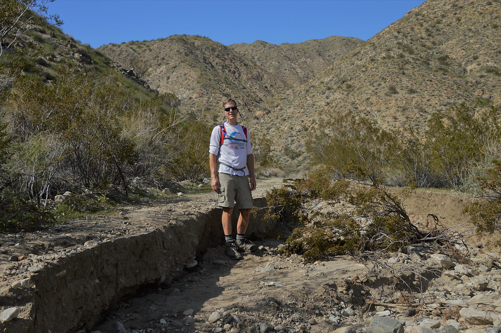 Heavy soil erosion caused by recent rains in some sections of the Big Morongo Canyon Trail
