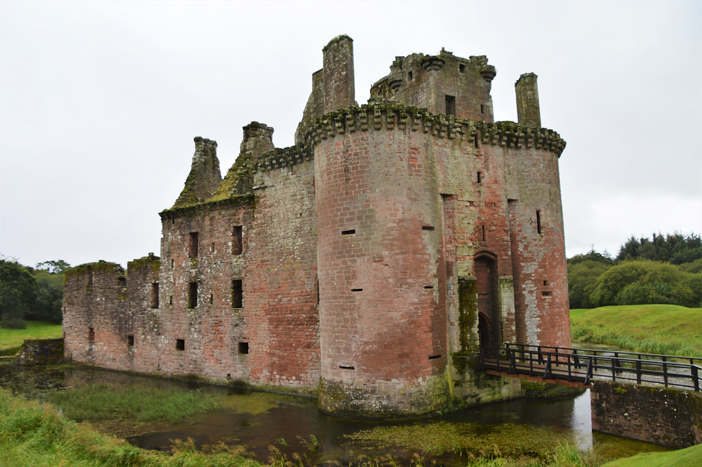 Moat surrounding the ruins of Caerlaverock Castle in Southern Scotland