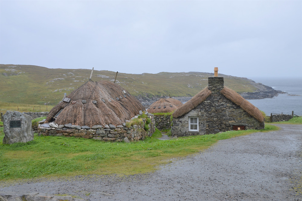 Gearrannan Blackhouse Village on Lewis and Harris in the Outer Hebrides.  Built in late 1800s.