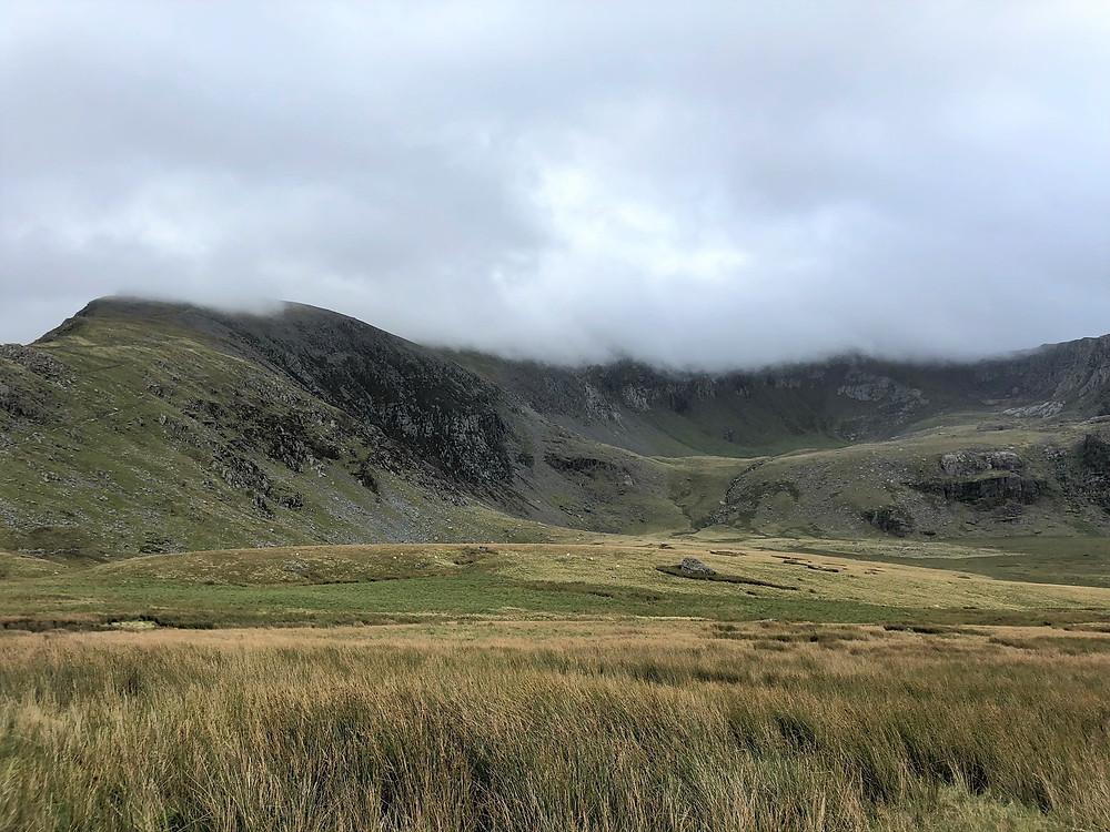 The Snowdon peak sits atop Cwm Clogwyn somewhere behind those clouds.