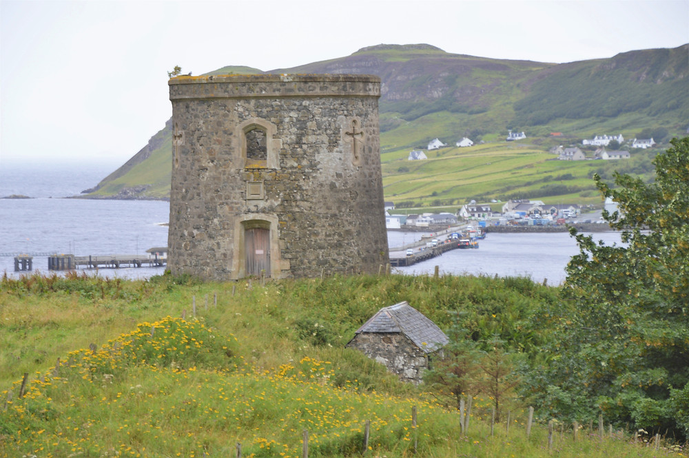 Old defensive towers along the coast of the Trotternish peninsula on the Isle of Skye