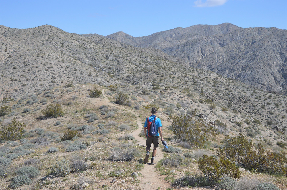 Hiking the Chocolate Drop Trail in the foothills of the Little San Bernardino Mountains in Desert Hot Springs