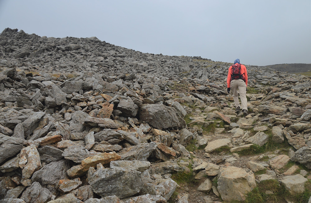 Gravel and scree covered slope on the Snowdon Ranger Path