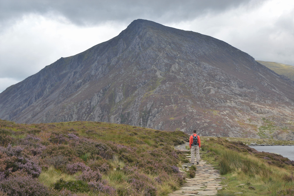 The 3,209 foot summit of Pen yr Ole Wen from the path leading along around Llyn Idwal