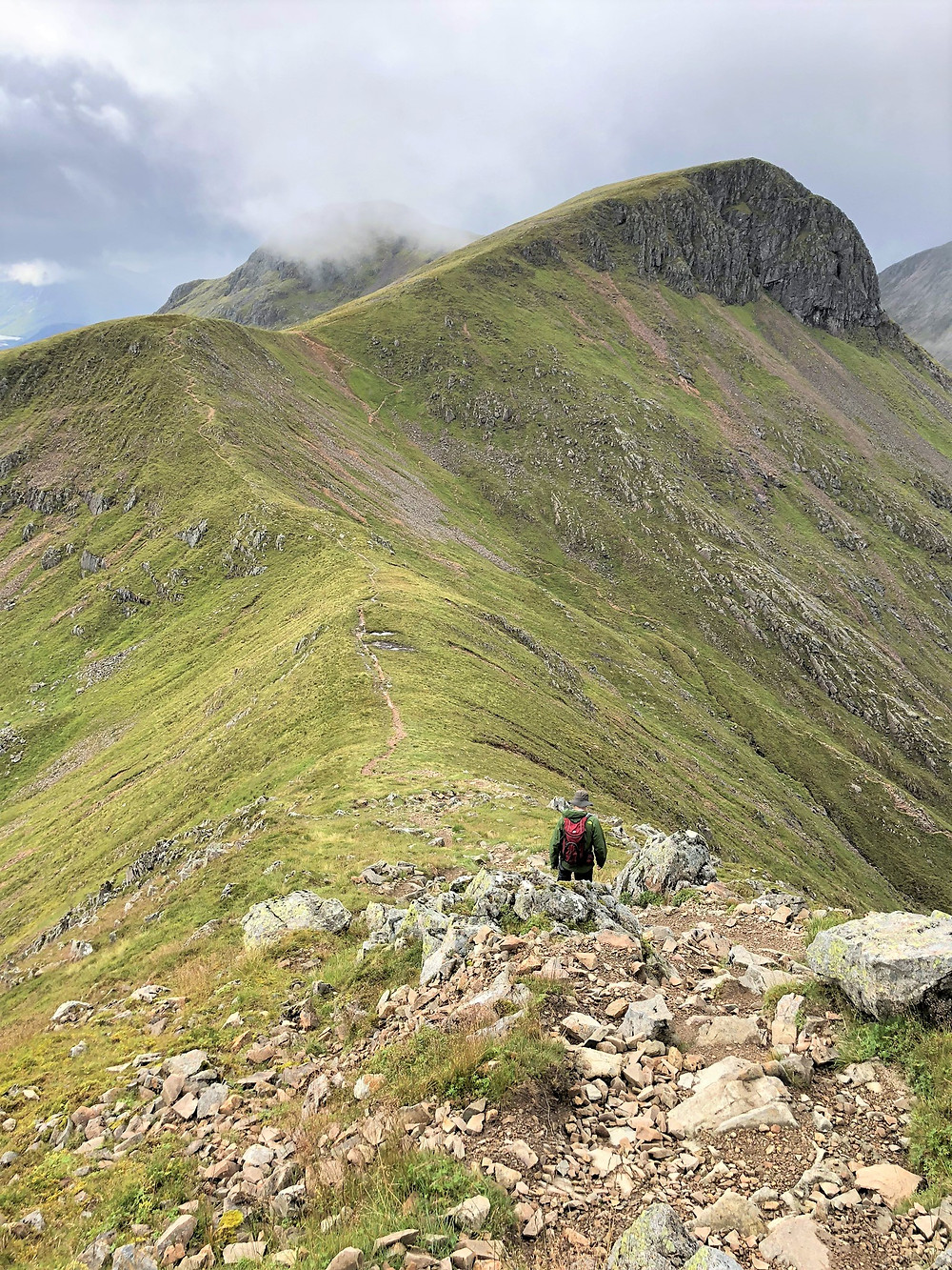 View of Stob Coire Altruim from the trail descending from the summit of Stob Na Doire