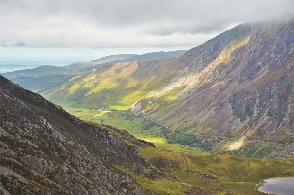 The view of Ogwen Valley from Devil's Kitchen or Twll Du.