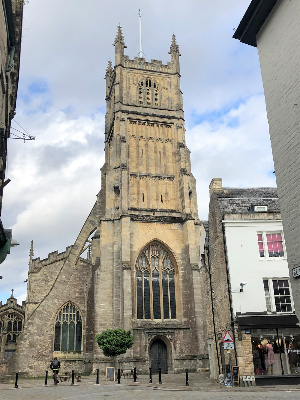 The West Tower of Cathedral of the Cotswolds, St. John the Baptist in Cirencester of the Cotswolds