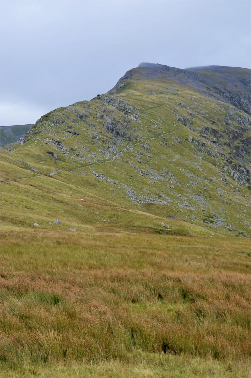 Snowdon Ranger Path traversing just below the ridge line of Clogwyn Du'r Arddu