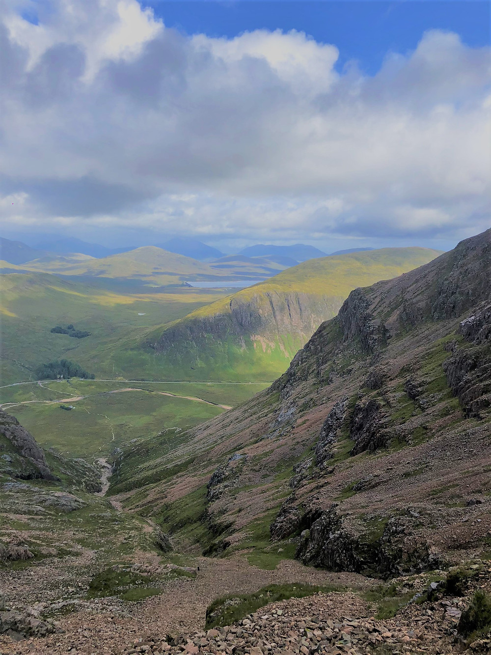Looking down Coire na Tulaich to our starting point on the hike to the summit of Buachaille Etive Mòr in the Scottish Highlands