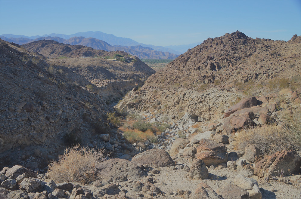 Steep canyon and wash along the Eisenhower Loop trail in the Santa Rosa Mountains